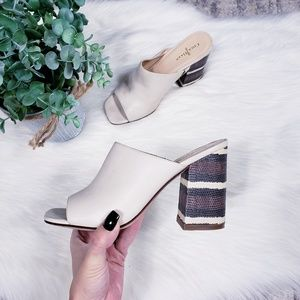 Cole Haan leather snakeskin heel open toe mules